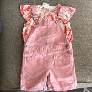 Baby Gap outfit pink overalls and top age 3 years